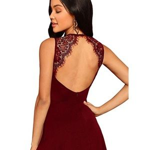 Sleeveless Lace Cocktail Backless Flare Mini Dress